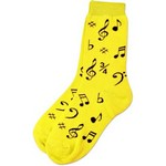 Aim AIM10016C Women's Socks with Black Notes, Yellow