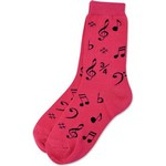 Aim AIM10016D Women's Socks with Black Notes, Pink