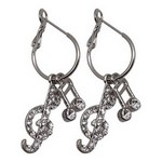 Aim ER435 Note/Clef (clear/silver) Earrings