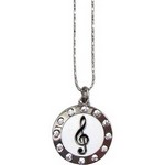"Aim N440 G-Clef Rhinestones Circle 22"" Chain Necklace"