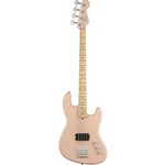 Fender Flea Jazz Electric Bass Guitar Active, Maple Fingerboard, Satin Shell Pink
