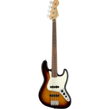 Fender Player Jazz Electric Bass Guitar Fretless, Pau Ferro Fingerboard, 3-Color Sunburst